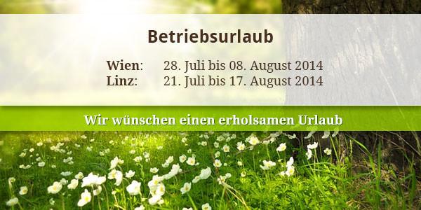 Betriebsurlaub Sommer 2014