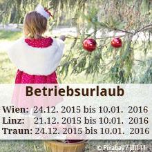 Betriebsurlaub Weihnachten 2015