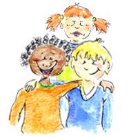 Zeichnung von Kindern - darunter ist ein Kontakt Formular