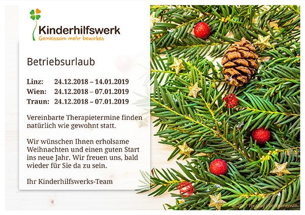 Betriebsurlaub Weihnachten 2018 Verein Kinderhilfswerk
