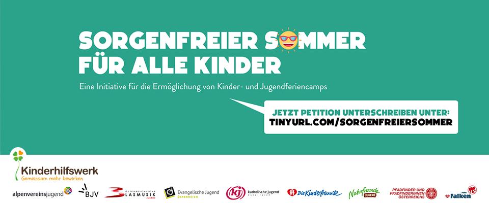 Schriftzug: Sorgenfreier Sommer für alle Kinder
