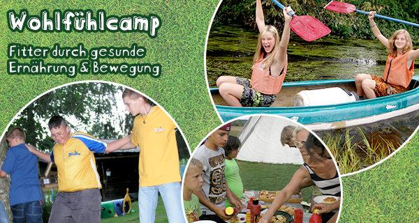 """Kindergruppe und Schrift: """"Wohlfühlcamp"""" -fitter durch gesunde Ernährung und Bewegung"""
